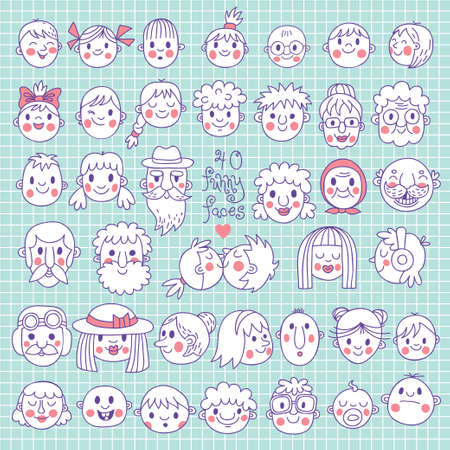 40 Funny Faces  People of all ages  Cute vector set  Vector