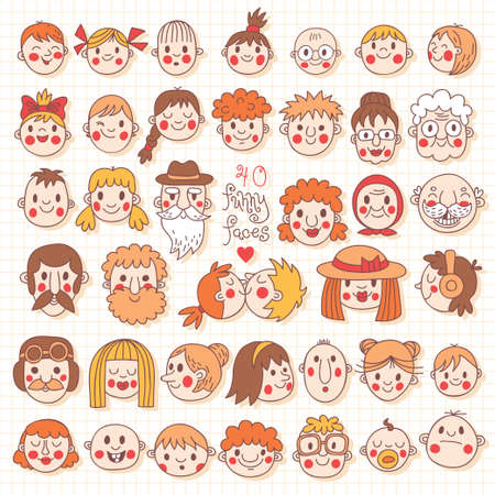 40 Funny Faces  People of all ages  Cute vector set