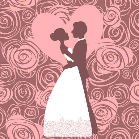 Wedding invitation  Silhouette of bride and groom  Vector illustration  Vector