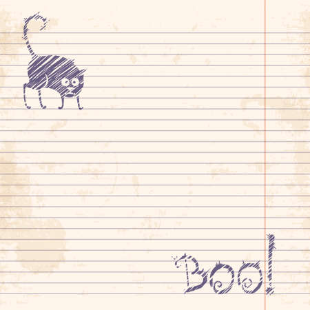 ruled: Halloween cat  Boo  Sketch on notebook ruled paper Vector illustration