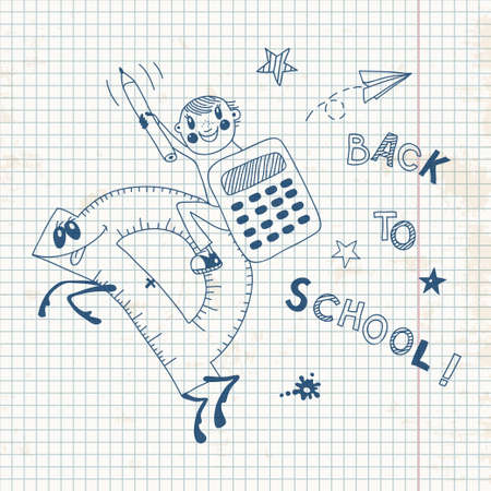 Back to school  Schoolboy endearing knowledge  Vector illustration  Vettoriali