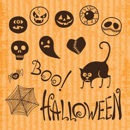 orange cat: Set Happy Halloween  Emoticons Halloween illustration  Illustration