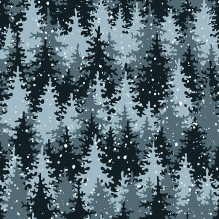 pine tree silhouette: Heavy snow in the pine forest  Seamless pattern  illustration  Illustration