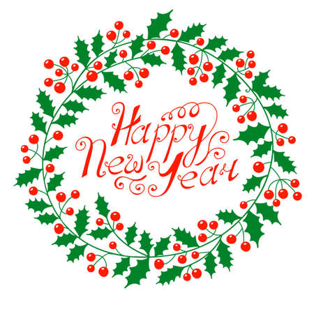 holly leaves: Christmas wreath with the wish a Happy New Year  illustration  Illustration