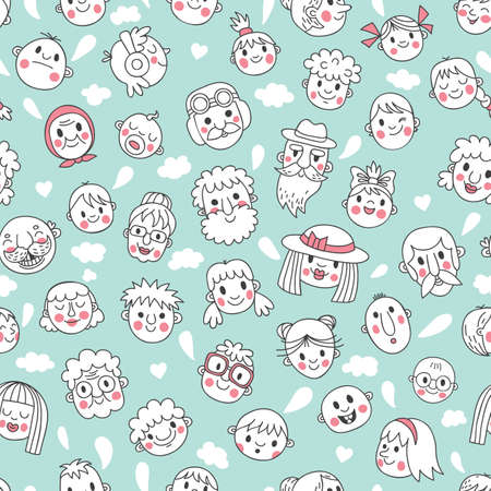 Funny cartoon faces  Seamless pattern  Vector illustration  Vector