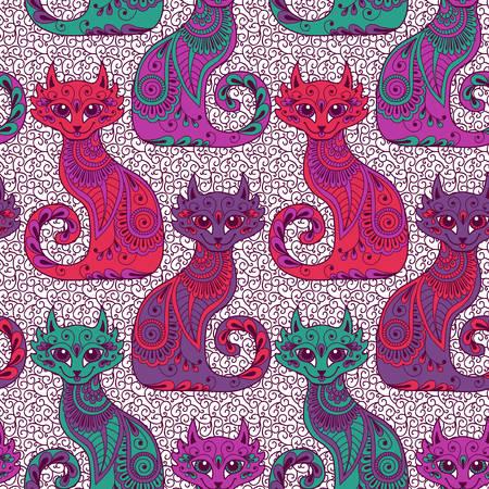 エスニック風ベクトル図で美しい猫とシームレスなパターン