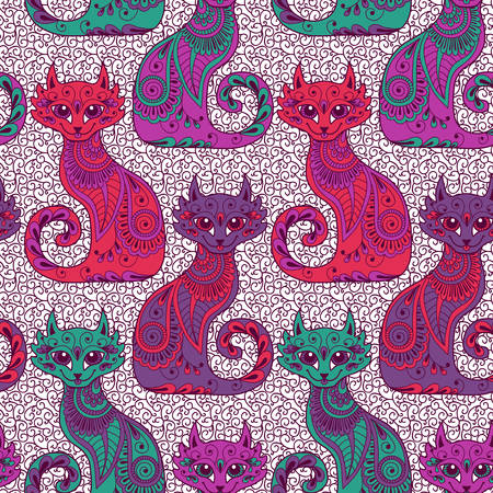 Seamless pattern with beautiful cats in the ethnic style  Vector illustration  Illustration