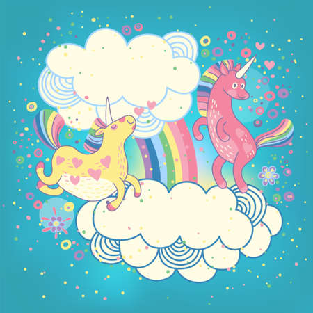 ponies: Card with a cute unicorns rainbow in the clouds  Vector illustration