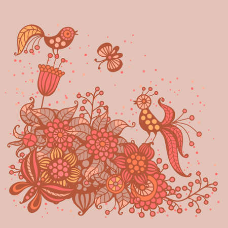 Romantic card with flowers, birds and butterflies  Vector illustration  Vector