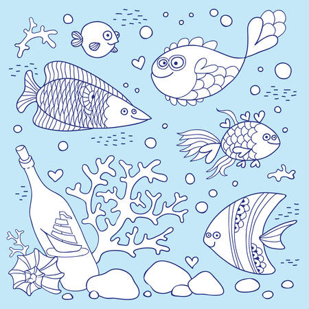 sailing vessel: Ilustraci�n de la vida bajo el agua un conjunto de elementos de pescado, una botella de un barco de vela, concha