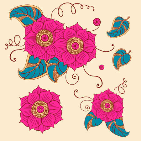 flowery: Floral set in vector  Bright flowers in ethnic style