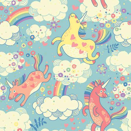 graficas de pastel: Modelo inconsútil lindo con los unicornios del arco iris en la ilustración de las nubes Vector Vectores