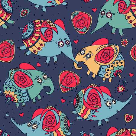 Cheerful seamless pattern with elephants and roses  Vector illustration