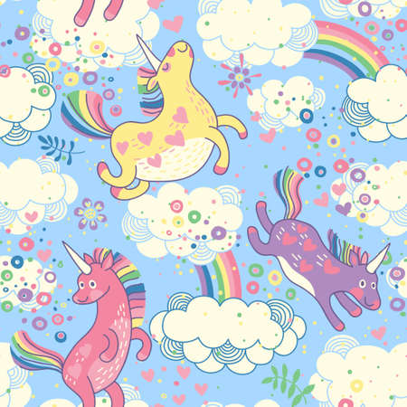 Cute seamless pattern with rainbow unicorns in the clouds  Vector illustration