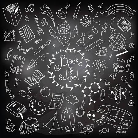 Terug naar school achtergrond Tekenen met krijt op een schoolbord ontwerp elementen Vector illustratie Stock Illustratie