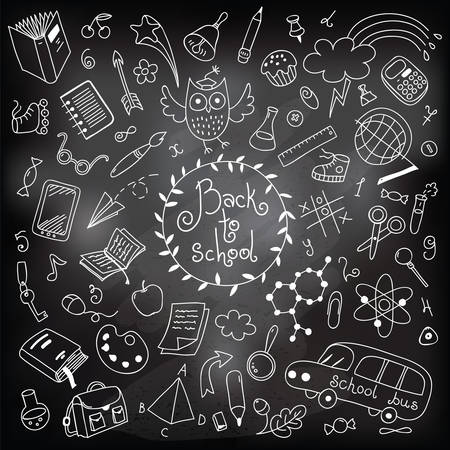 Back to school background  Drawing with chalk on a blackboard  Design elements  Vector illustration Vettoriali