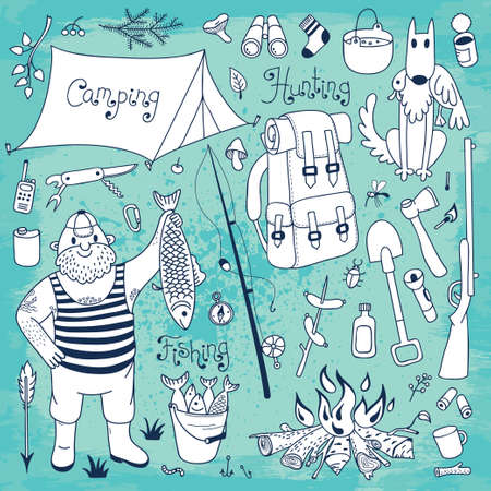Fishing, hunting, camping set  Hand drawing design elements   Vector illustration Vector