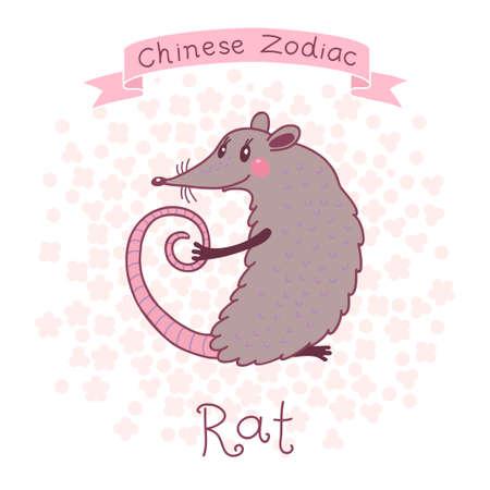 chinese horoscope: Chinese Zodiac - Rat  Cute horoscope  Vector illustration