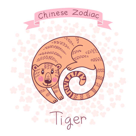Chinese Zodiac - Tiger  Cute horoscope  Vector illustration  Vector