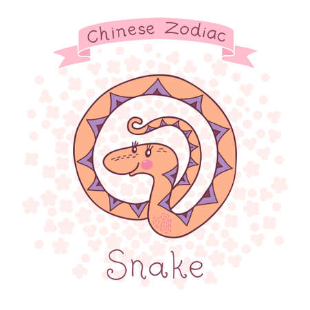 ophidian: Chinese Zodiac - Snake  Cute horoscope  Vector illustration