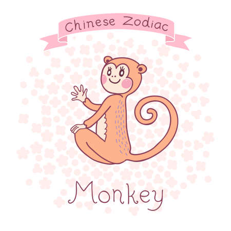 chinese new year rabbit: Chinese Zodiac - Monkey  Cute horoscope  Vector illustration