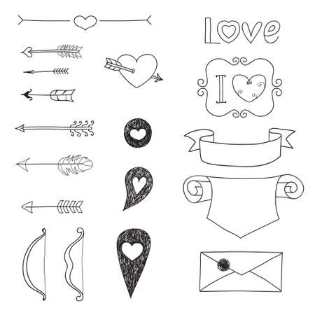 Set Wedding and Valentines Day doodles  Vector illustration  Vector