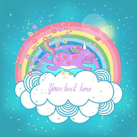 rainbow sky: Card with a cute unicorn rainbow in the clouds  Vector illustration  Illustration