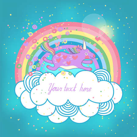Card with a cute unicorn rainbow in the clouds  Vector illustration  Vectores