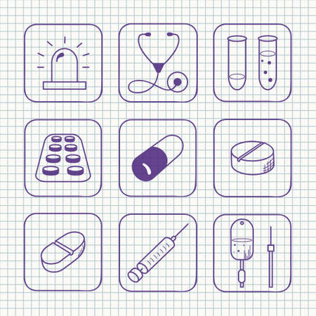 Sketches simple medical icons set illustration  Vector
