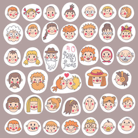 40 Funny Faces  People of all ages  Cute set  Vector illustration
