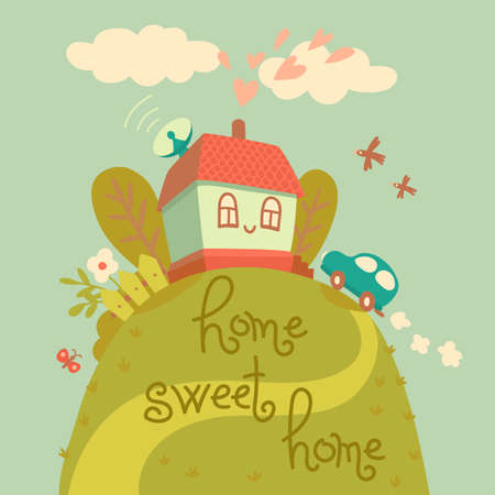 Home sweet home  Card with cute house and car  Vector illustration Vector