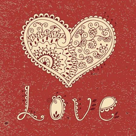 ethnics: Vintage card with hearts Valentine s Day  Vector illustration  Illustration