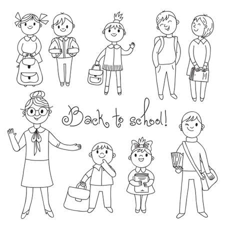 The teacher with the students  Back to school  Vector illustration