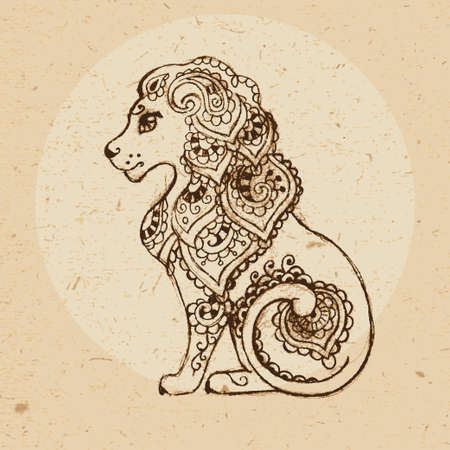 Hand drawn lion with elements of the ornament in ethnic style  Zodiac sign - Leo  Vector illustration Ilustracja