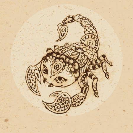 escorpio: Mano escorpión dibujado con elementos del ornamento en estilo étnico signo zodiacal - ilustración vectorial Scorpio Vectores
