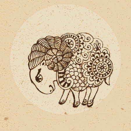 Hand drawn ram with elements of the ornament in ethnic style  Zodiac sign - Aries  Vector illustration Ilustracja
