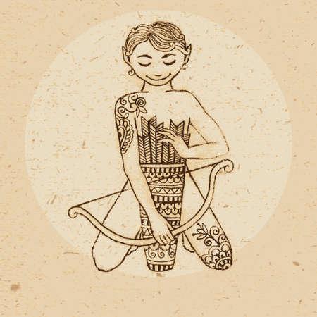 Hand drawn sagittarius ornament with elements in the ethnic style  Zodiac sign - Sagittarius  Vector illustration  Vettoriali