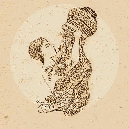 手の要素を持つアクエリアス飾りにスタイルで描画民族ゾウディアック署名アクエリアス ベクトル イラスト
