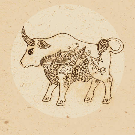 Hand drawn bull with elements of the ornament in ethnic style  Zodiac sign - Taurus  Vector illustration  向量圖像