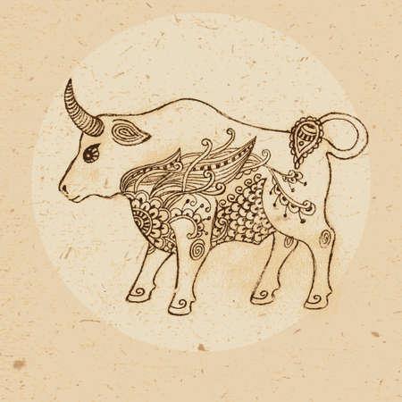 Main taureau dessinée avec des éléments de l'ornement en signe astrologique de style ethnique - Taureau Vector illustration Banque d'images - 30674791