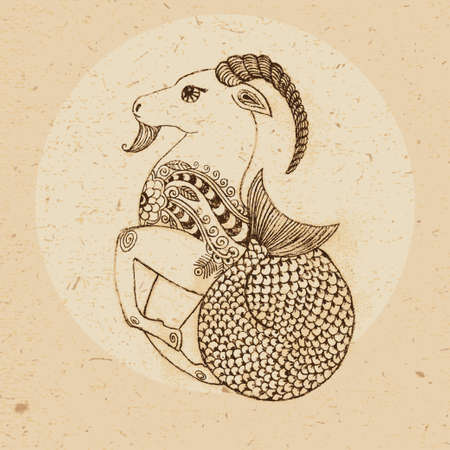 Hand drawn Capricorn with elements of the ornament in ethnic style  Zodiac sign - Capricorn  Vector illustration
