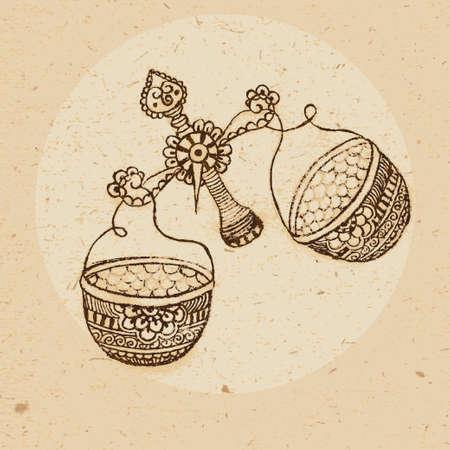 Hand getrokken weegschaal met elementen van het ornament in etnische stijl teken van de dierenriem - Weegschaal Vector illustratie