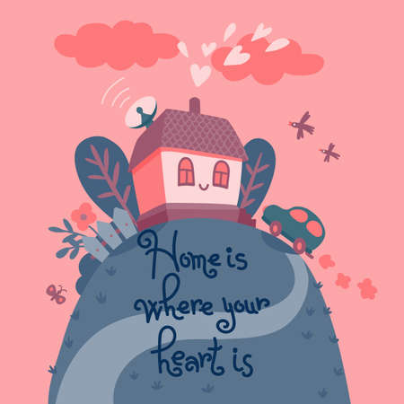 warm house: Home is where your heart is  Card with the house in the rays of the setting sun  Vector illustration  Illustration