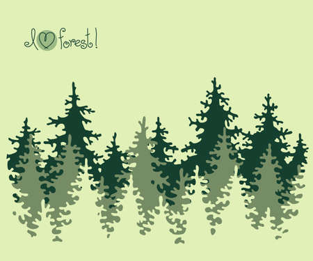 Abstract banner of coniferous forest  Vector illustration  Иллюстрация