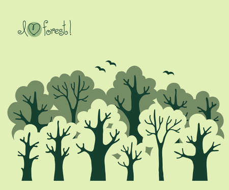 Abstract banner of green deciduous  forest  Vector illustration  Vector
