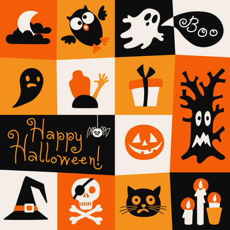 Happy Halloween card. Halloween symbols in a flat style. Vector illustration.