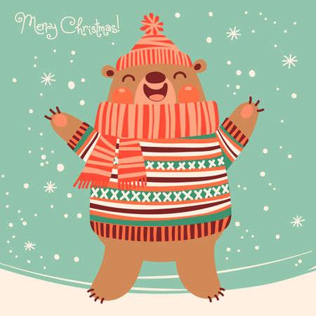 Christmas card with a cute brown bear  Vector illustration