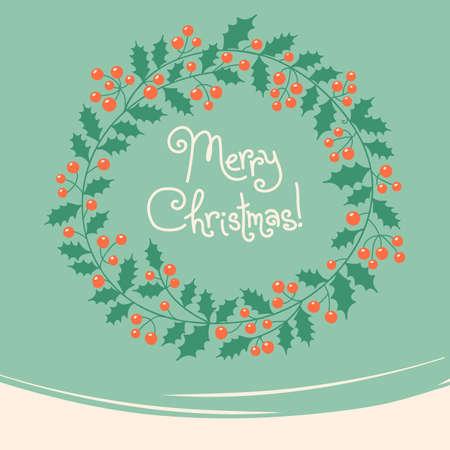 Xmas card  Vintage card with Christmas wreath  Vector illustration
