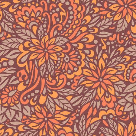 Autumn flowers  Seamless decorative pattern  Vector illustration  Vector