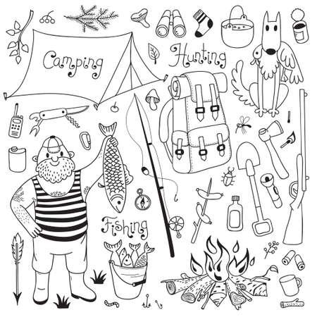 釣り、ハンティング、キャンプ セット。手図面のデザイン要素です。ベクトル イラスト。